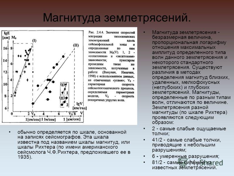 Магнитуда землетрясений. обычно определяется по шкале, основанной на записях сейсмографов. Эта шкала известна под названием шкалы магнитуд, или шкалы Рихтера (по имени американского сейсмолога Ч.Ф.Рихтера, предложившего ее в 1935). Магнитуда землетря