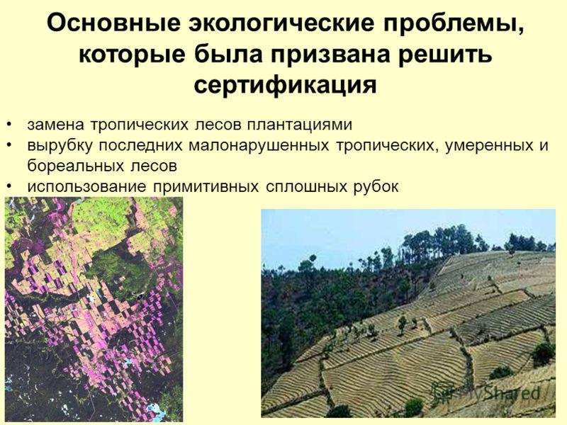 Основные экологические проблемы, которые была призвана решить сертификация замена тропических лесов плантациями вырубку последних малонарушенных тропических, умеренных и бореальных лесов использование примитивных сплошных рубок