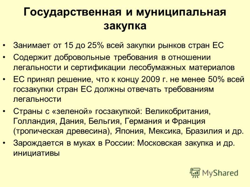 Государственная и муниципальная закупка Занимает от 15 до 25% всей закупки рынков стран ЕС Содержит добровольные требования в отношении легальности и сертификации лесобумажных материалов ЕС принял решение, что к концу 2009 г. не менее 50% всей госзак