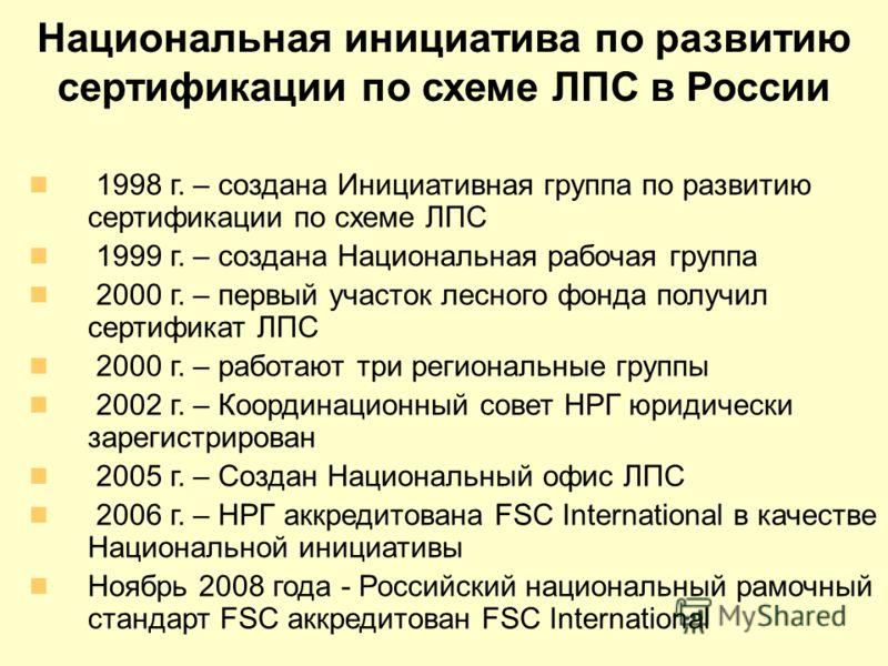 Национальная инициатива по развитию сертификации по схеме ЛПС в России 1998 г. – создана Инициативная группа по развитию сертификации по схеме ЛПС 1999 г. – создана Национальная рабочая группа 2000 г. – первый участок лесного фонда получил сертификат