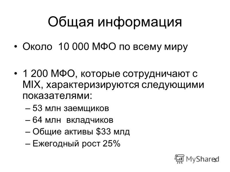 3 Общая информация Около 10 000 МФО по всему миру 1 200 МФО, которые сотрудничают с MIX, характеризируются следующими показателями: –53 млн заемщиков –64 млн вкладчиков –Общие активы $33 млд –Ежегодный рост 25%
