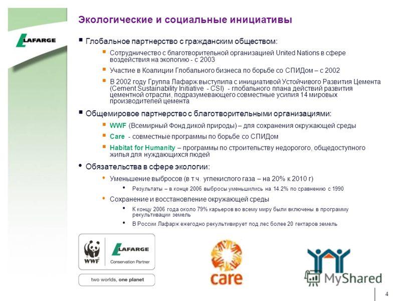 4 Экологические и социальные инициативы Глобальное партнерство с гражданским обществом: Сотрудничество с благотворительной организацией United Nations в сфере воздействия на экологию - с 2003 Участие в Коалиции Глобального бизнеса по борьбе со СПИДом