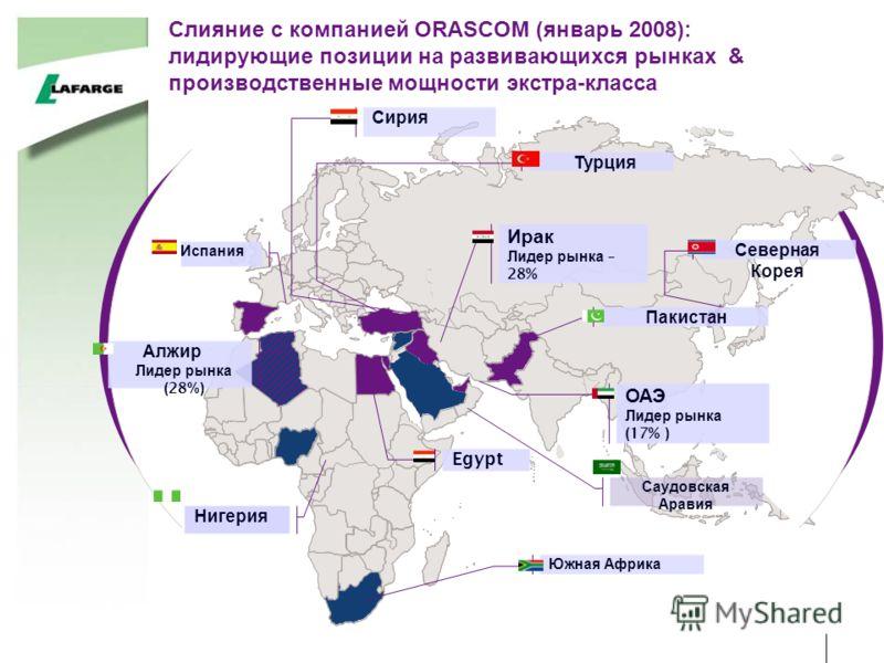Слияние с компанией ORASCOM (январь 2008): лидирующие позиции на развивающихся рынках & производственные мощности экстра-класса Egypt Сирия Ирак Лидер рынка – 28% Южная Африка Алжир Лидер рынка ( 28 %) Нигерия Турция Испания Северная Корея Пакистан О