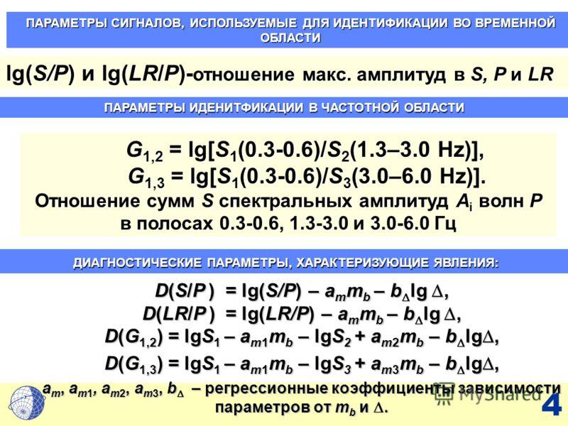 4 G 1,2 = lg[S 1 (0.3-0.6)/S 2 (1.3–3.0 Hz)], G 1,2 = lg[S 1 (0.3-0.6)/S 2 (1.3–3.0 Hz)], G 1,3 = lg[S 1 (0.3-0.6)/S 3 (3.0–6.0 Hz)]. G 1,3 = lg[S 1 (0.3-0.6)/S 3 (3.0–6.0 Hz)]. Отношение сумм S спектральных амплитуд A i волн P в полосах 0.3-0.6, 1.3