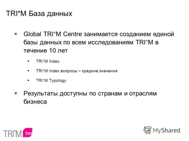 Global TRI*M Centre занимается созданием единой базы данных по всем исследованиям TRI*M в течение 10 лет TRI*M Index TRI*M Index вопросы – средние значения TRI*M Typology Результаты доступны по странам и отраслям бизнеса TRI*M База данных
