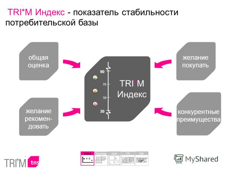 общая оценка желание рекомен- довать желание покупать конкурентные преимущества TRI*M Индекс 90 50 70 30 Index 30 68 70 65 0 20 40 60 80 100 Typology CA Grid CM TRI*M Индекс - показатель стабильности потребительской базы