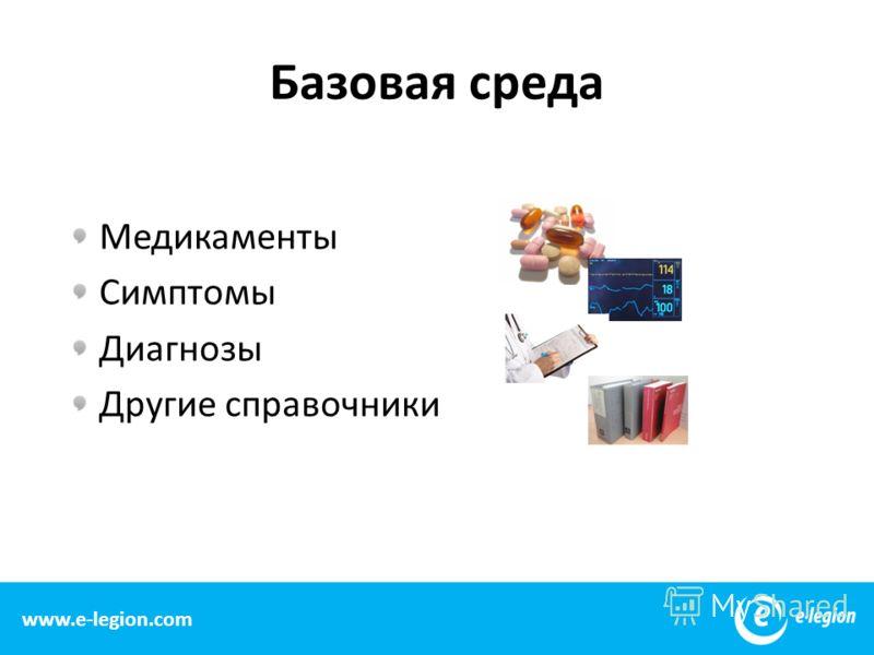 Базовая среда Медикаменты Симптомы Диагнозы Другие справочники 8 www.e-legion.com