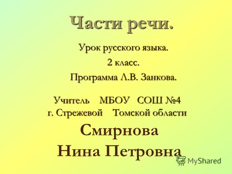 Русский язык 2 класс канакина части речи