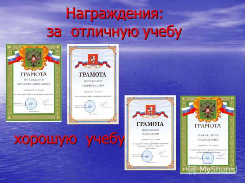 Награждения: за отличную учебу хорошую учебу Награждения: за отличную учебу хорошую учебу