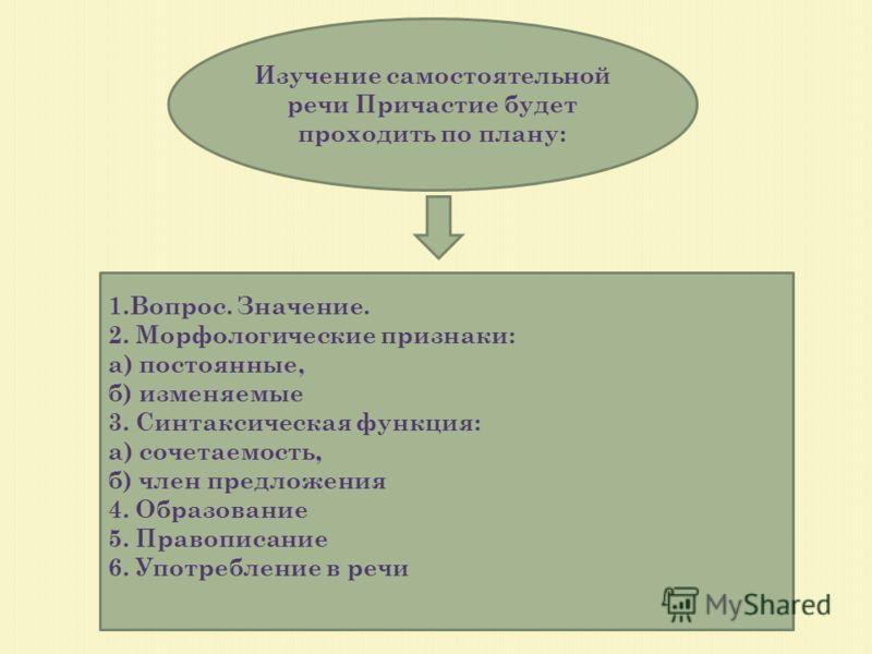 Изучение самостоятельной речи Причастие будет проходить по плану: 1.Вопрос. Значение. 2. Морфологические признаки: а) постоянные, б) изменяемые 3. Синтаксическая функция: а) сочетаемость, б) член предложения 4. Образование 5. Правописание 6. Употребл