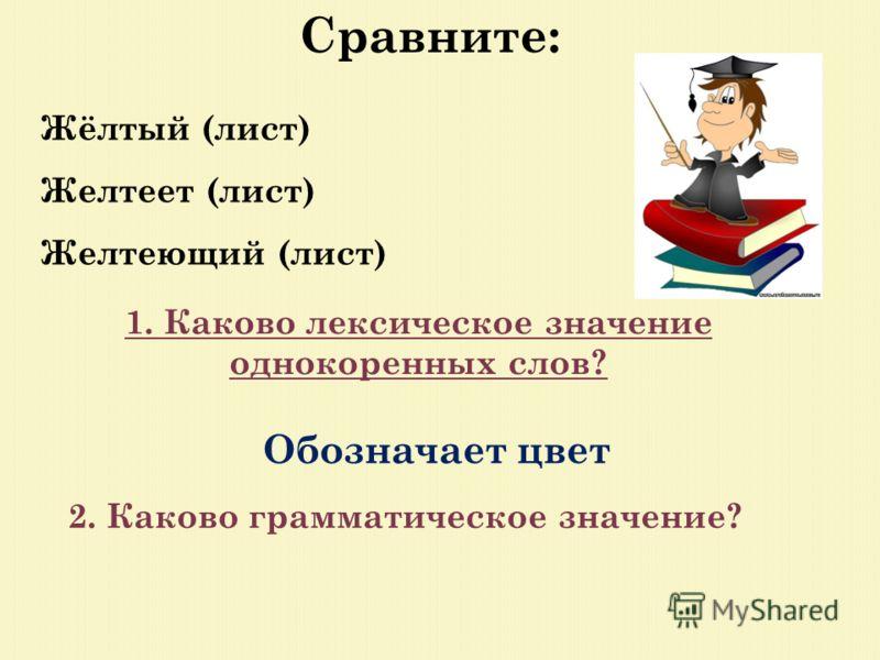 Сравните: Жёлтый (лист) Желтеет (лист) Желтеющий (лист) 1. Каково лексическое значение однокоренных слов? Обозначает цвет 2. Каково грамматическое значение?