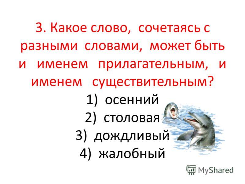 3. Какое слово, сочетаясь с разными словами, может быть и именем прилагательным, и именем существительным? 1) осенний 2) столовая 3) дождливый 4) жалобный