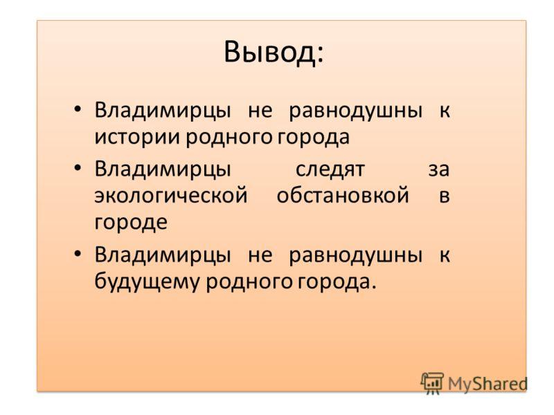 Вывод: Владимирцы не равнодушны к истории родного города Владимирцы следят за экологической обстановкой в городе Владимирцы не равнодушны к будущему родного города.