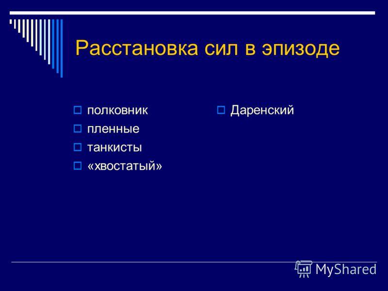 Расстановка сил в эпизоде полковник пленные танкисты «хвостатый» Даренский