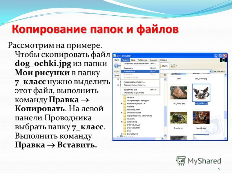 Копирование папок и файлов Рассмотрим на примере. Чтобы скопировать файл dog_ochki.jpg из папки Мои рисунки в папку 7_класс нужно выделить этот файл, выполнить команду Правка Копировать. На левой панели Проводника выбрать папку 7_класс. Выполнить ком
