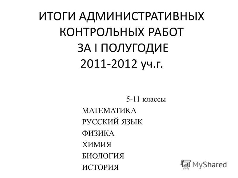 ИТОГИ АДМИНИСТРАТИВНЫХ КОНТРОЛЬНЫХ РАБОТ ЗА I ПОЛУГОДИЕ 2011-2012 уч.г. 5-11 классы МАТЕМАТИКА РУССКИЙ ЯЗЫК ФИЗИКА ХИМИЯ БИОЛОГИЯ ИСТОРИЯ
