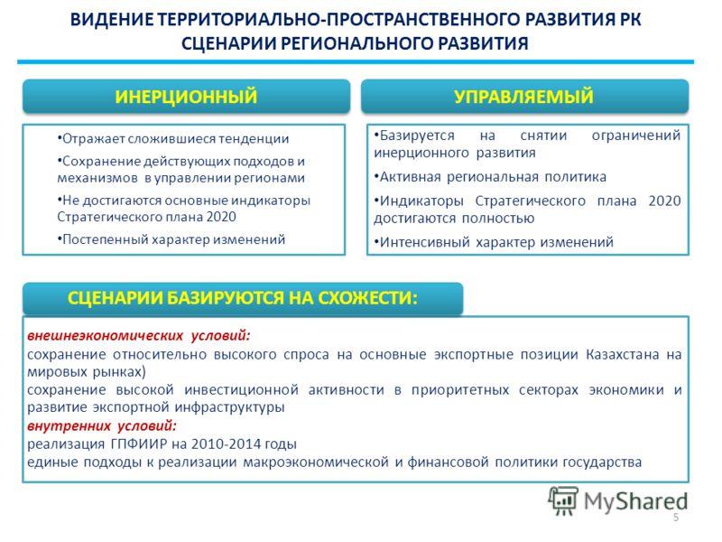 ВИДЕНИЕ ТЕРРИТОРИАЛЬНО-ПРОСТРАНСТВЕННОГО РАЗВИТИЯ РК СЦЕНАРИИ РЕГИОНАЛЬНОГО РАЗВИТИЯ внешнеэкономических условий: сохранение относительно высокого спроса на основные экспортные позиции Казахстана на мировых рынках) сохранение высокой инвестиционной а