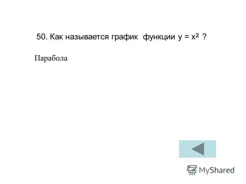 50. Как называется график функции у = х ² ? Парабола