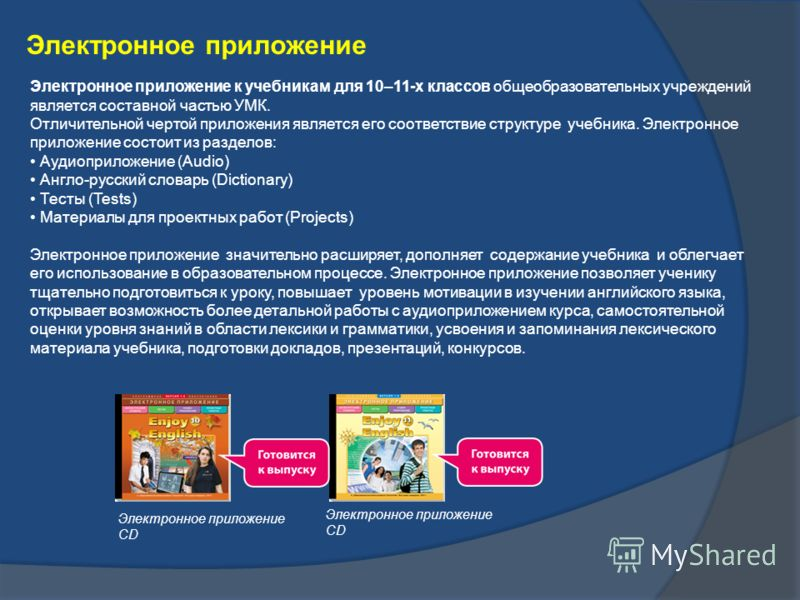 Электронное приложение Электронное приложение к учебникам для 10–11-х классов общеобразовательных учреждений является составной частью УМК. Отличительной чертой приложения является его соответствие структуре учебника. Электронное приложение состоит и