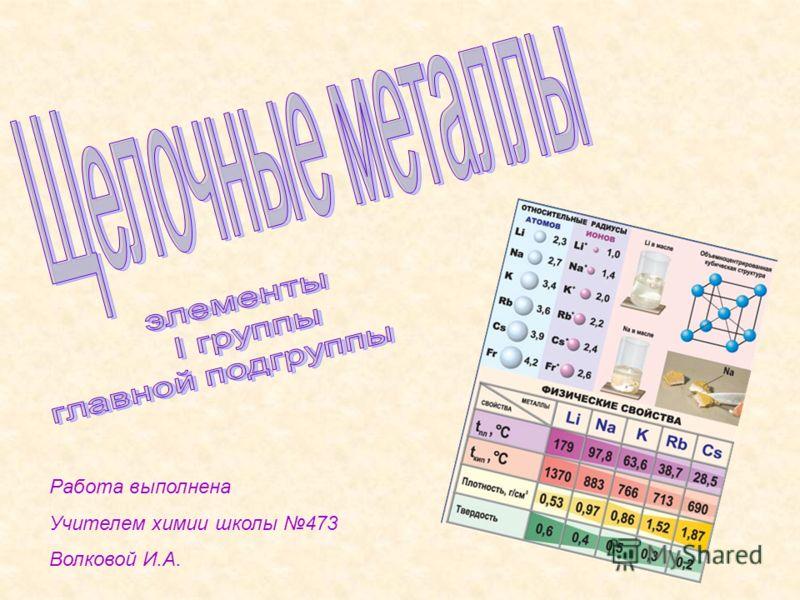 Работа выполнена Учителем химии школы 473 Волковой И.А.