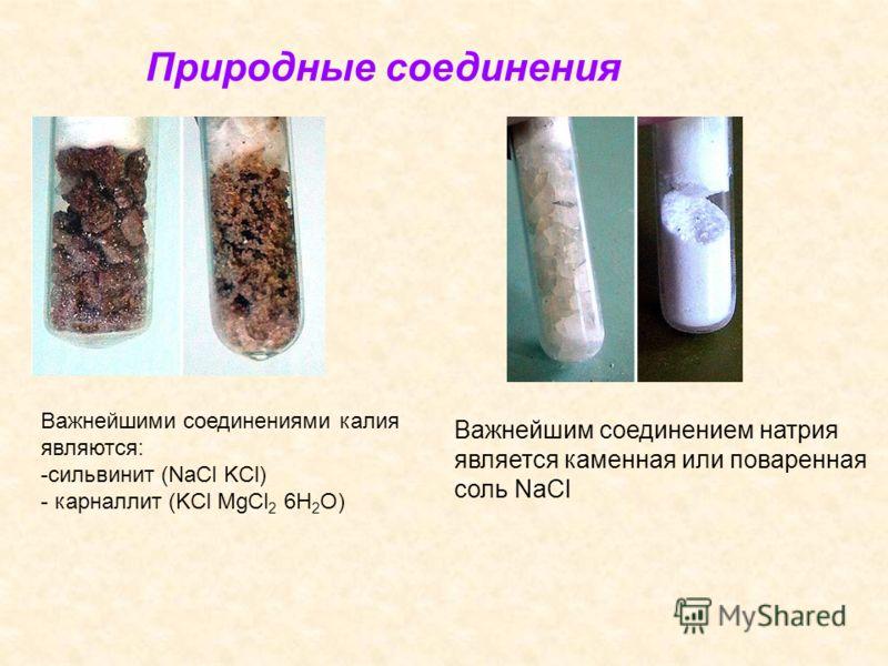 Важнейшими соединениями калия являются: -сильвинит (NaCl KCl) - карналлит (KCl MgCl 2 6H 2 O) Природные соединения Важнейшим соединением натрия является каменная или поваренная соль NaCl
