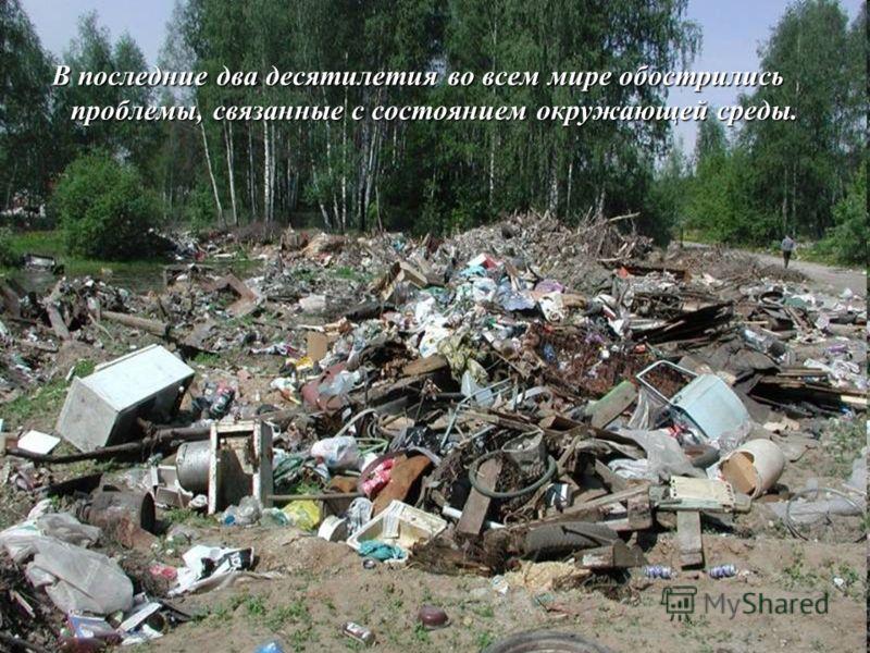 В последние два десятилетия во всем мире обострились проблемы, связанные с состоянием окружающей среды.