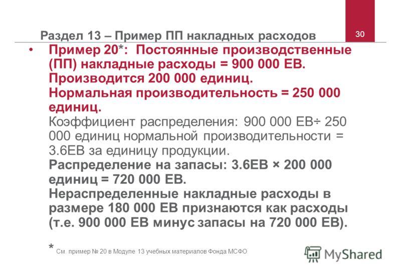 30 Раздел 13 – Пример ПП накладных расходов Пример 20*: Постоянные производственные (ПП) накладные расходы = 900 000 ЕВ. Производится 200 000 единиц. Нормальная производительность = 250 000 единиц. Коэффициент распределения: 900 000 ЕВ÷ 250 000 едини