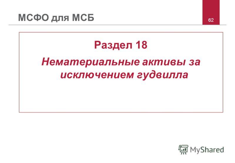 62 МСФО для МСБ Раздел 18 Нематериальные активы за исключением гудвилла