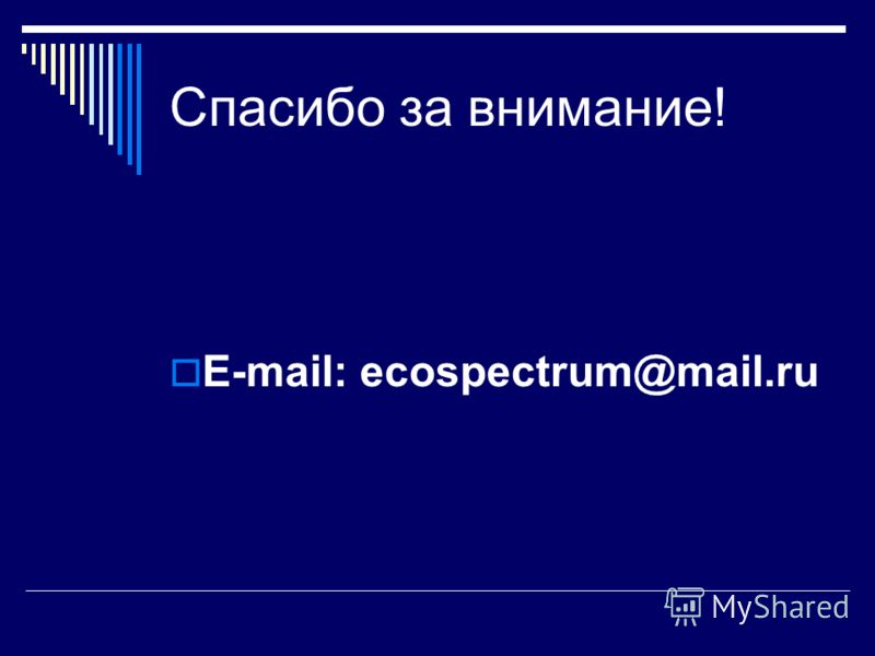 Спасибо за внимание! E-mail: ecospectrum@mail.ru