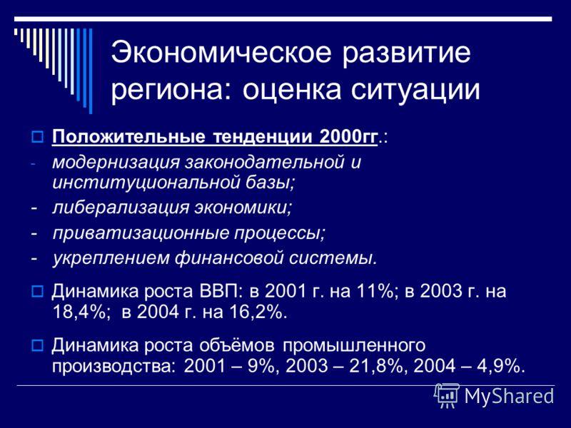 Экономическое развитие региона: оценка ситуации Положительные тенденции 2000гг.: - модернизация законодательной и институциональной базы; - либерализация экономики; - приватизационные процессы; - укреплением финансовой системы. Динамика роста ВВП: в