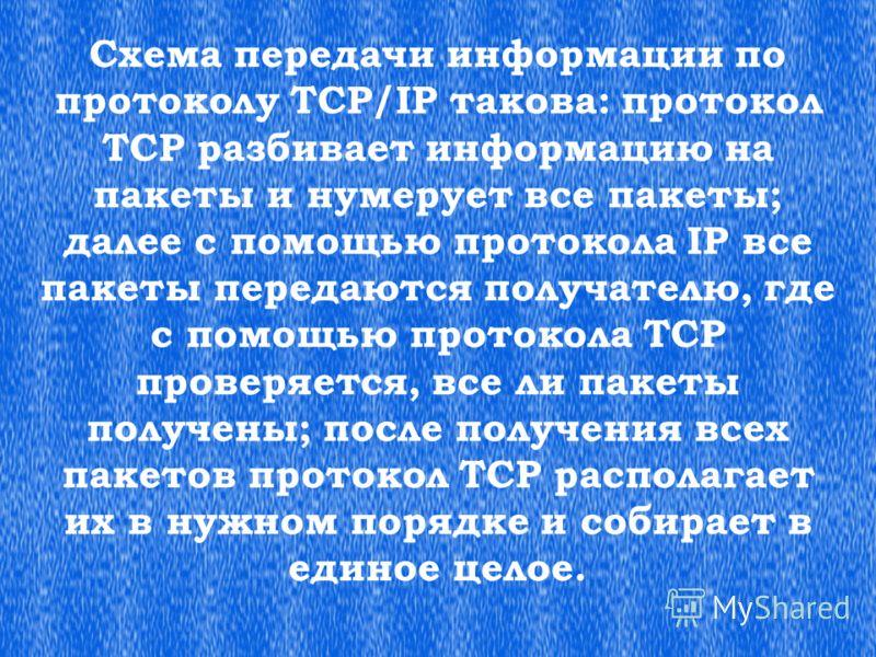 Схема передачи информации по протоколу TCP/IP такова: протокол ТСР разбивает информацию на пакеты и нумерует все пакеты; далее с помощью протокола IP все пакеты передаются получателю, где с помощью протокола ТСР проверяется, все ли пакеты получены; п
