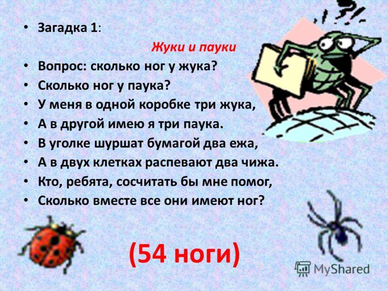 Загадка 1: Жуки и пауки Вопрос: сколько ног у жука? Сколько ног у паука? У меня в одной коробке три жука, А в другой имею я три паука. В уголке шуршат бумагой два ежа, А в двух клетках распевают два чижа. Кто, ребята, сосчитать бы мне помог, Сколько