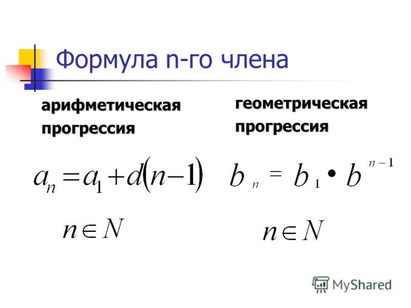Формула n-го члена арифметическаяпрогрессия геометрическаяпрогрессия