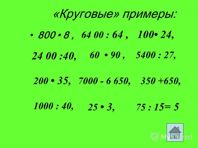 «Круговые» примеры: 800 8, 64 00 : 64,100 24, 60 90,5400 : 27, 200 35, 24 00 :40, 7000 - 6 650, 350 +650, 1000 : 40, 25 3, 75 : 1 5=5