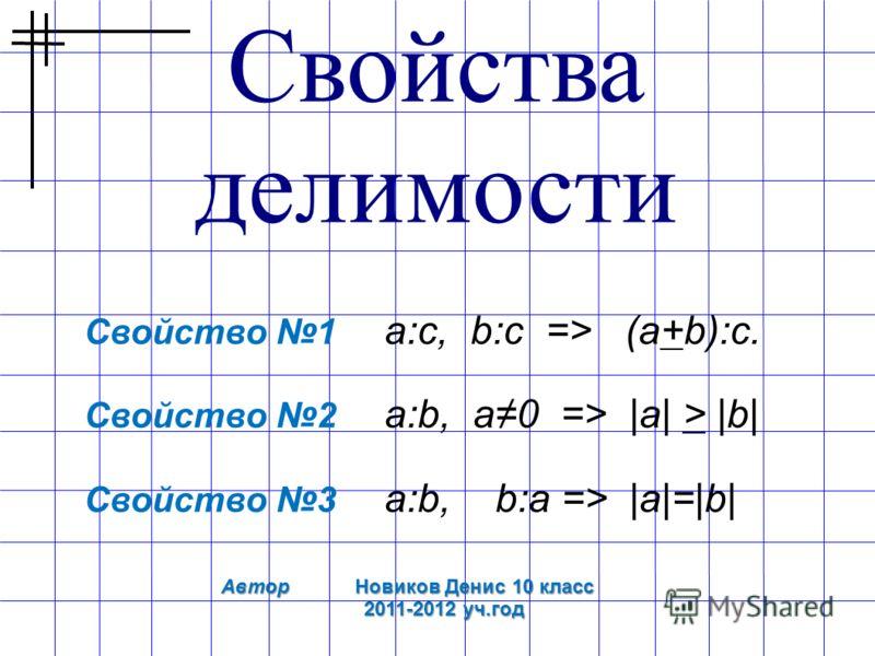 Свойства делимости Свойство 1 а:c, b:c => (а+b):c. Свойство 2 a:b, а0 => |а| > |b| Свойство 3 а:b, b:а => |а|=|b| Автор Новиков Денис 10 класс 2011-2012 уч.год 2011-2012 уч.год
