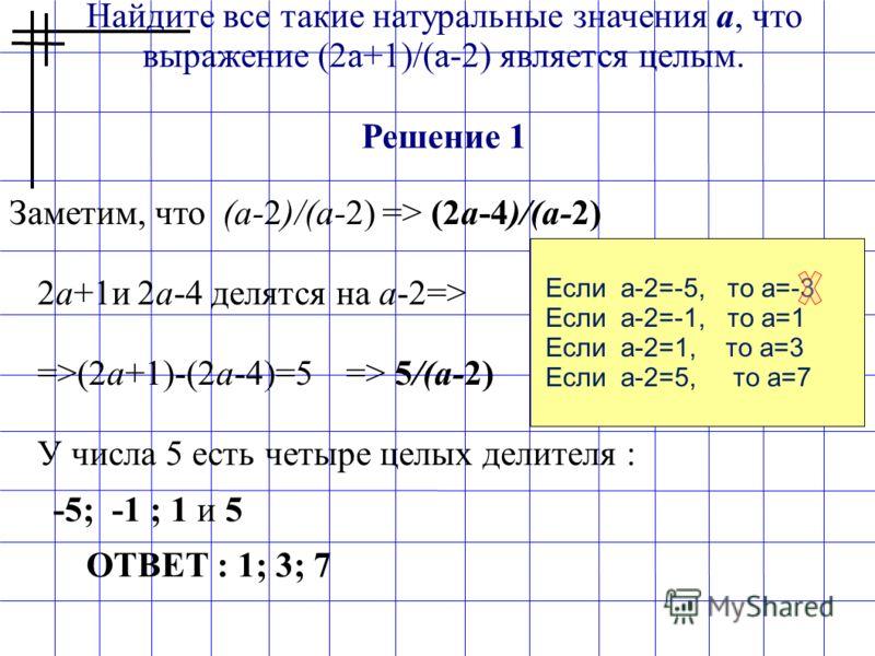 Найдите все такие натуральные значения a, что выражение (2a+1)/(a-2) является целым. Решение 1 Заметим, что (а-2)/(а-2) => (2а-4)/(а-2) 2а+1и 2а-4 делятся на а-2=> =>(2а+1)-(2а-4)=5 => 5/(а-2) У числа 5 есть четыре целых делителя : -5; -1 ; 1 и 5 ОТВ