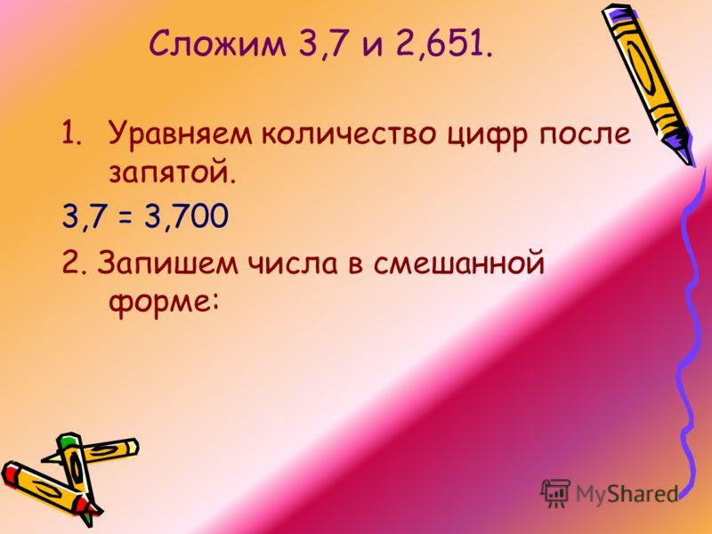 Сложим 3,7 и 2,651. 1.Уравняем количество цифр после запятой. 3,7 = 3,700 2. Запишем числа в смешанной форме: