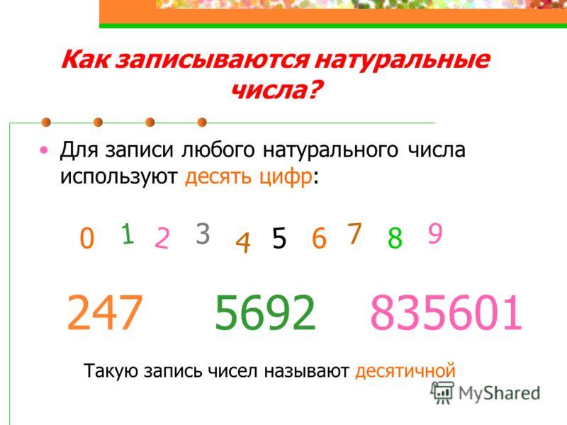 Как записываются натуральные числа? Для записи любого натурального числа используют десять цифр: 0 2 1 3 4 6 5 8 7 9 2475692835601 Такую запись чисел называют десятичной