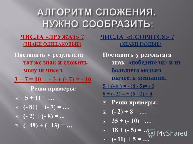 АЛГОРИТМ СЛОЖЕНИЯ. НУЖНО СООБРАЗИТЬ : ЧИСЛА « ДРУЖАТ » ? ( ЗНАКИ ОДИНАКОВЫЕ ) ЧИСЛА « ССОРЯТСЯ » ? ( ЗНАКИ РАЗНЫЕ ) Поставить у результата тот же знак и сложить модули чисел. 3 + 7 = 10 - 3 + (- 7) = - 10 Реши примеры : 5 + 11 = … (- 81) + (- 7) = …