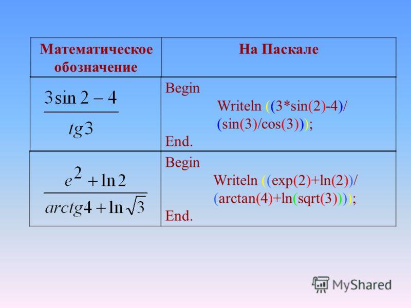 Математическое обозначение На Паскале Begin Writeln ((3*sin(2)-4)/ (sin(3)/cos(3))); End. Begin Writeln ((exp(2)+ln(2))/ (arctan(4)+ln(sqrt(3)))); End.