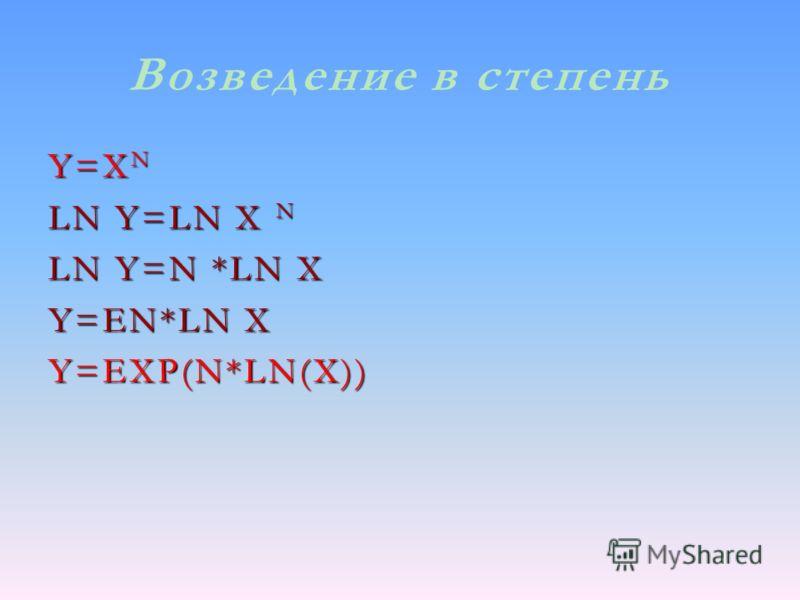 Возведение в степень Y=X N LN Y=LN X N LN Y=N *LN X Y=EN*LN X Y=EXP(N*LN(X))