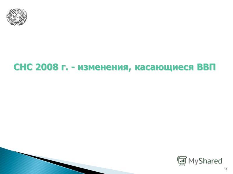36 СНС 2008 г. - изменения, касающиеся ВВП