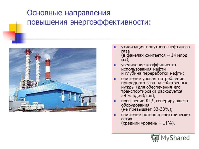 Основные направления повышения энергоэффективности: утилизация попутного нефтяного газа (в факелах сжигается – 14 млрд. м3); увеличение коэффициента использования нефти и глубина переработки нефти; снижение уровня потребление природного газа на собст