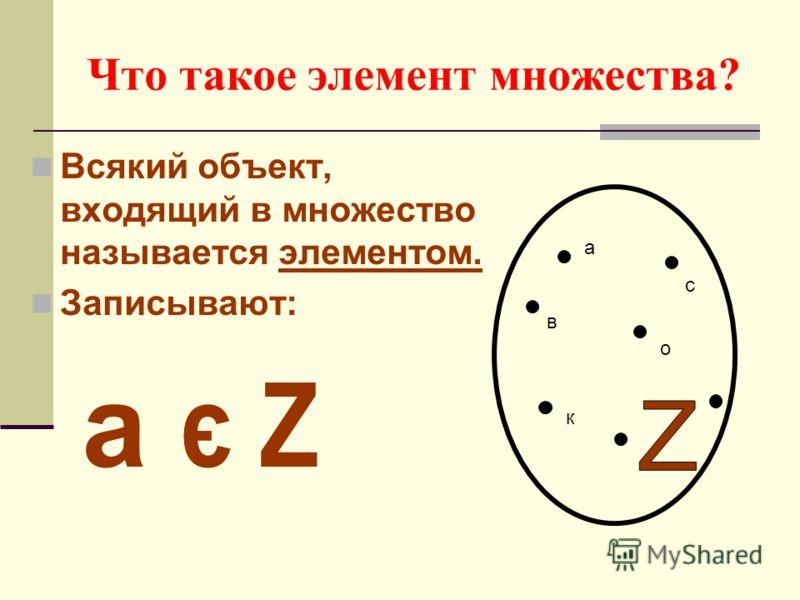 Что такое элемент множества? Всякий объект, входящий в множество называется элементом. Записывают: а є Z а в с к о
