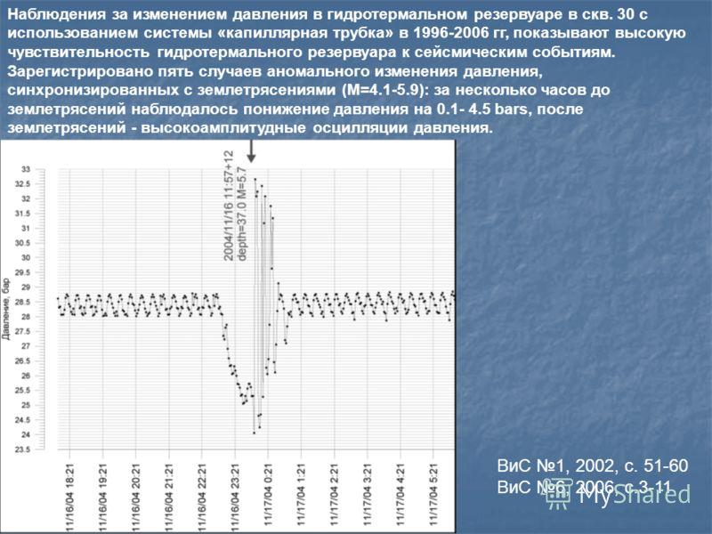 Наблюдения за изменением давления в гидротермальном резервуаре в скв. 30 с использованием системы «капиллярная трубка» в 1996-2006 гг, показывают высокую чувствительность гидротермального резервуара к сейсмическим событиям. Зарегистрировано пять случ