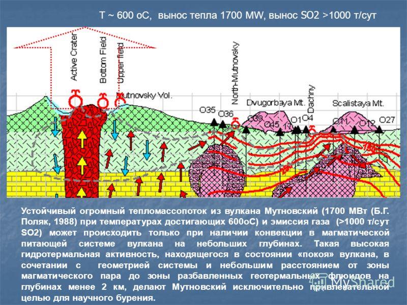 Устойчивый огромный тепломассопоток из вулкана Мутновский (1700 MВт (Б.Г. Поляк, 1988) при температурах достигающих 600oC) и эмиссия газа (>1000 т/сут SO2) может происходить только при наличии конвекции в магматической питающей системе вулкана на неб