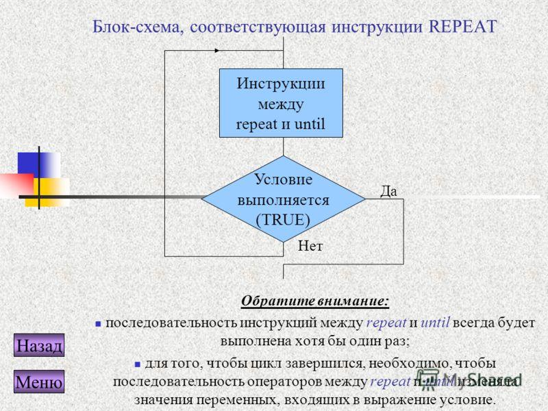 Блок-схема, соответствующая инструкции REPEAT Обратите внимание: последовательность инструкций между repeat и until всегда будет выполнена хотя бы один раз; для того, чтобы цикл завершился, необходимо, чтобы последовательность операторов между repeat