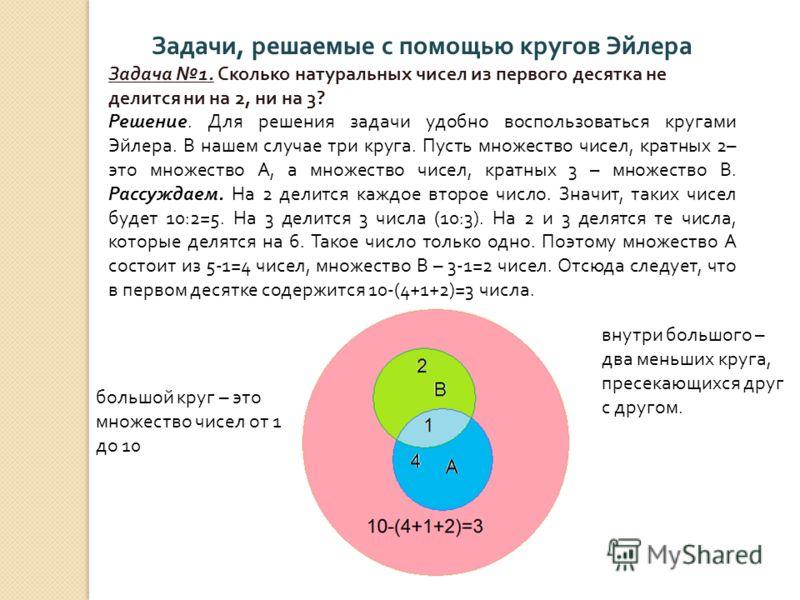 Задачи, решаемые с помощью кругов Эйлера Задача 1. Сколько натуральных чисел из первого десятка не делится ни на 2, ни на 3? Решение. Для решения задачи удобно воспользоваться кругами Эйлера. В нашем случае три круга. Пусть множество чисел, кратных 2