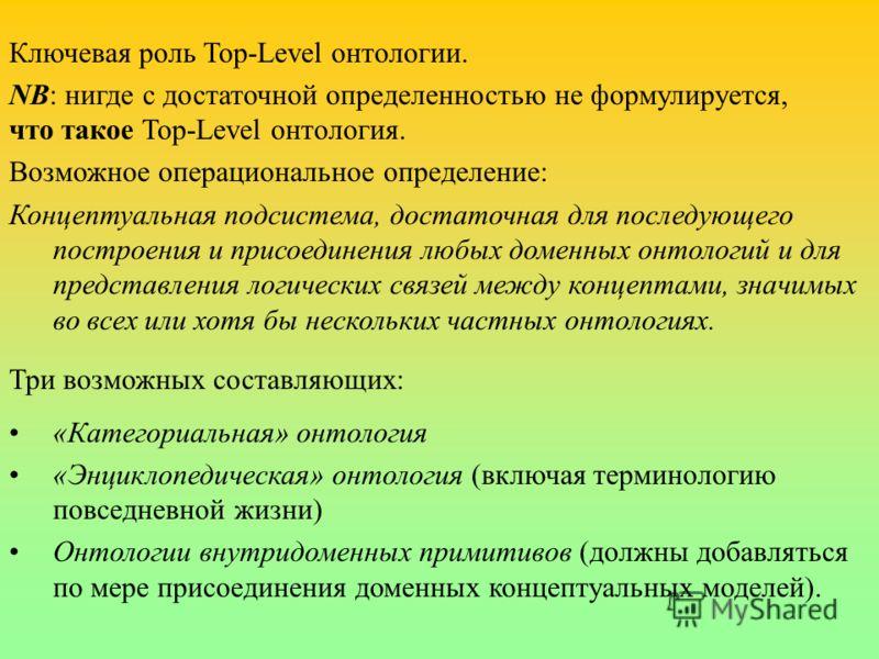 Ключевая роль Top-Level онтологии. NB: нигде с достаточной определенностью не формулируется, что такое Top-Level онтология. Возможное операциональное определение: Концептуальная подсистема, достаточная для последующего построения и присоединения любы