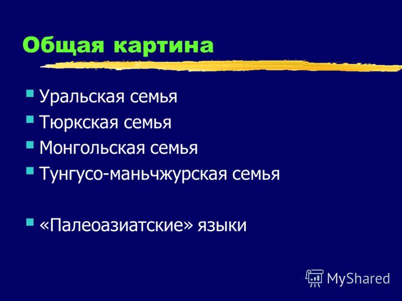 Общая картина Уральская семья Тюркская семья Монгольская семья Тунгусо-маньчжурская семья «Палеоазиатские» языки